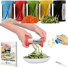 Kitofin Vegetable Spiral Slicer Spiralizer - Carrot Cucumber Zucchini Pasta Noodles Spaghetti Maker - Vegetable Peeler Cutter - Includes Garlic Peeler - Cleaning Brush - Recipes E-Book.