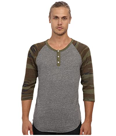Alternative Printed 3/4 Raglan Henley (Eco Grey/Camo) Men