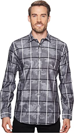 Shaped Fit Windowpane Camo Woven Shirt