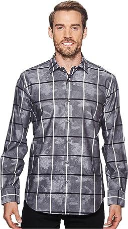 BUGATCHI Shaped Fit Windowpane Camo Woven Shirt