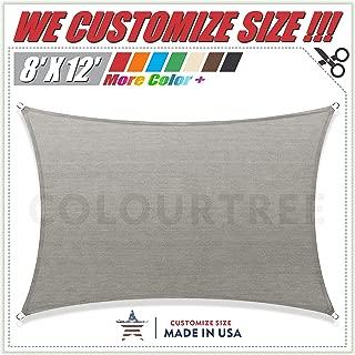 ColourTree 8' x 12' Grey Rectangle Sun Shade Sail Canopy – UV Resistant Heavy Duty Commercial Grade -We Make Custom Size