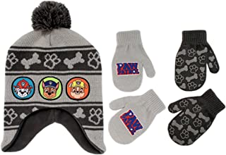 Little Boys Paw Patrol Character Hat and 2 Pairs of Mittens or Gloves Cold Weather Set, Age 2-7