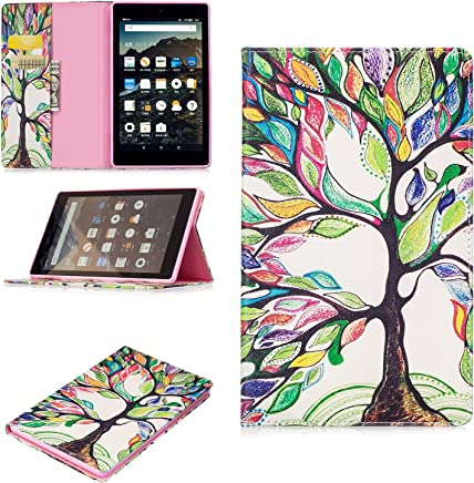 Kindle Fire HD8 2017 Case, Art Color Painting Design PU Leather Flip Folio Wallet Cover Case for Amazon Kindle Fire HD 8 2017 Tablet with Card Slot Kickstand ( Color : Rainbow tree )