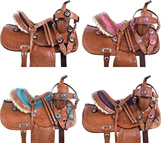 Youth Children Crystal Leather Hand Carved Western Pleasure Trail Show Rodeo Kids Pony Horse Saddle TACK Package Bridle Breastplate Size 10 12 13