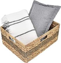 "StorageWorks Jumbo Rectangular Wicker Basket, Water Hyacinth and Seagrass Storage Basket with Built-in Handles, 16.5"" x 13..."