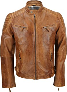 Xposed Mens Real Soft Leather Slim Fit Antique Washed Tan Brown Retro Zip Biker Jacket