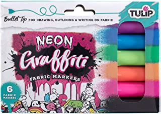 Tulip Graffiti Fabric Markers Bullet Tip 6pk, Neon, Premium Quality Ink, Permanent, Child Safe, for Fabric Painting, Drawi...