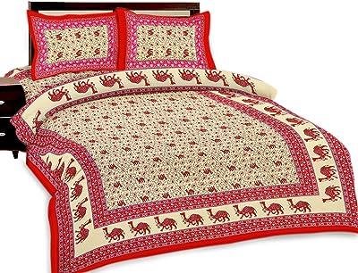 UniqChoice Floral Japuri Printed 120 TC 100% Cotton Double Bedsheet with 2 Pillow Cover,Brown(UC13_4SQR-SB)