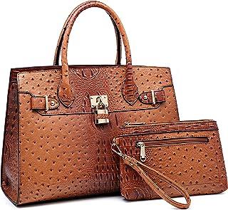 Women Ostrich Handbag Fashion Ladies Shoulder Bag Top Handle Satchel Purse 2 Pieces Set