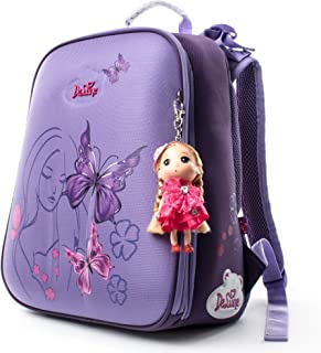Cute Kids School Bag for Girls, Doll Key Ring Backpack, Waterproof & Durable (Purple)