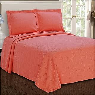 Superior Paisley Jacquard Matelassé 100% Premium Cotton Bedspread with Matching Shams, Twin, Coral