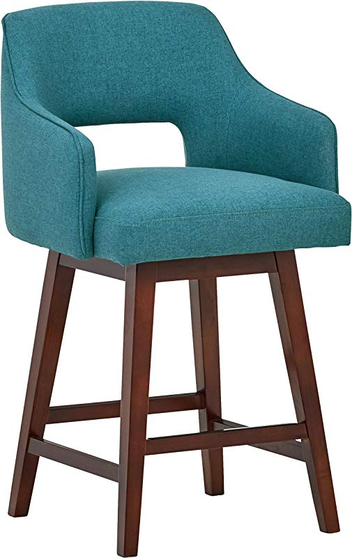 Rivet Malida Mid Century Modern Kitchen Counter Open Back Padded Swivel Bar Stool With Arms 37 Inch Height Aqua Blue Wood