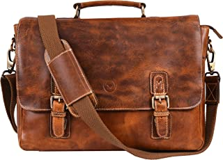 15.5 inch Leather Messenger Bag with cushioned Interior