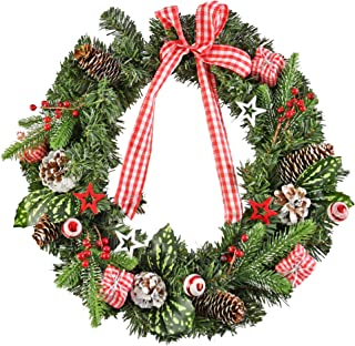 HOME-X Front Door Christmas Wreath with Gingham Bow and Stars for Home Wall, Window, Staircase, Door Décor, Outdoor Winter...