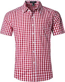 Men's Slim Fit Solid Dress Shirts Button Down Cotton Short Sleeve Shirt Beige