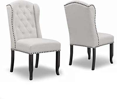 Amazon.com: Faux Leather Dining Chairs Chrome and White (Set of 4 ...