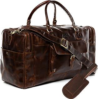 SID & VAIN Reisetasche mit Adressanhänger echt Leder Yale groß Sporttasche Weekender Ledertasche Herren braun