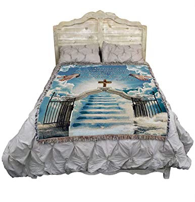 Heaven's Gate 1 - and God Will Open Wide The Gates of Heaven - Scriptures - 2 Peter 1:11 - Sympathy - Cotton Woven Blanket Throw - Made in The USA (72x54)