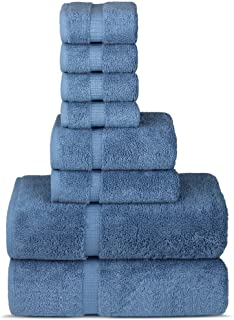Chakir Turkish Linens Hotel & Spa Quality, Highly Absorbent Towel Set (Set of 8, Wedgewood)