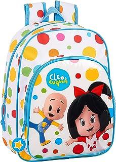 Mochila Safta Escolar Infantil Animada de Cleo y Cuquin, 260x110x340mm, Blanco/ Multicolor