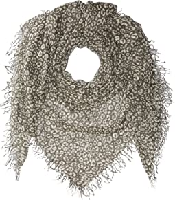 Two-Tone Leopard Print Silk and Cashmere Scarf