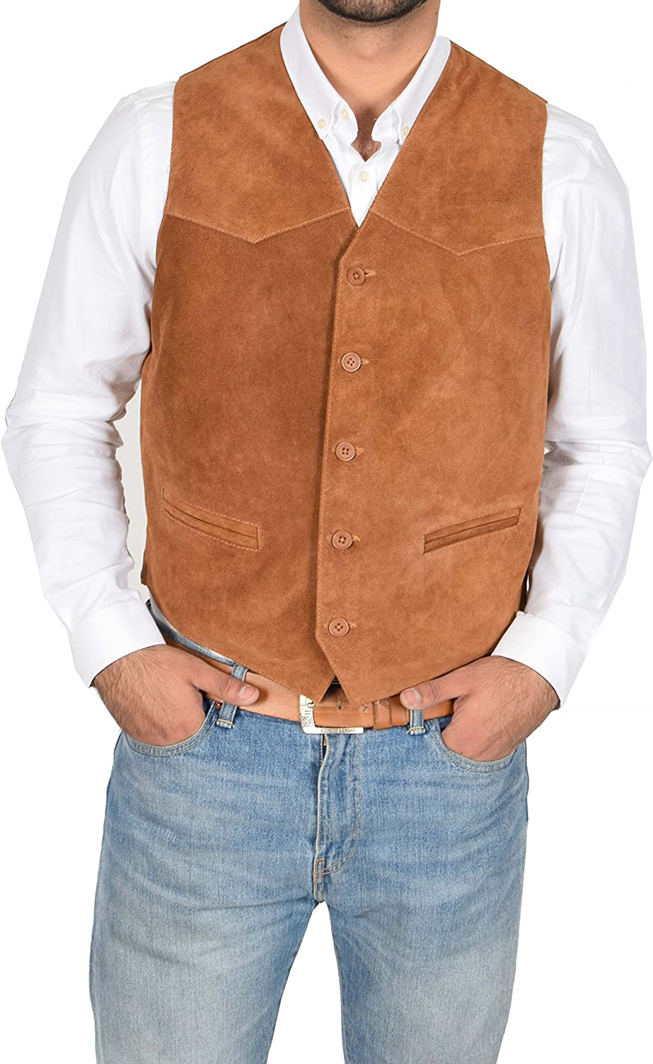 Mens REAL Suede Waistcoat Classic Style Soft TAN Suede Leather Vest Gilet - Cole