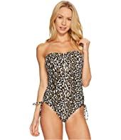 MICHAEL Michael Kors - Thora Leopard Lace-Up Bandeau One-Piece
