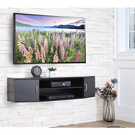 FITUEYES Wall Mounted TV Media Console Floating Desk Storage Hutch for Home and Office DS311001WB