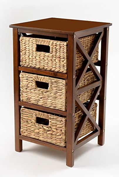 EHemco 3 Tier X Side End Table Storage Cabinet With 3 Baskets Walnut