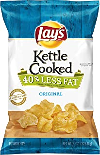 Lay's Kettle Cooked 40% Less Fat Original Potato Chips, 8 Ounce