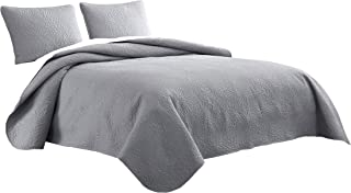 Cozy Beddings Aidee 3pc Coverlet Set King/Cal-King Size Bed Lightweight Thermal Pressing Leafage | Light Grey