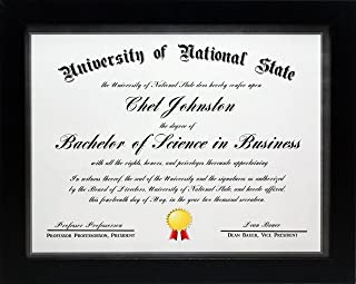 8.5x11 Black Gallery Certificate and Document Frame - Wide Molding - Includes Both Attached Hanging Hardware and Desktop Easel - Award, Certificates, Documents, a Diploma, or a Photo 8.5 x 11