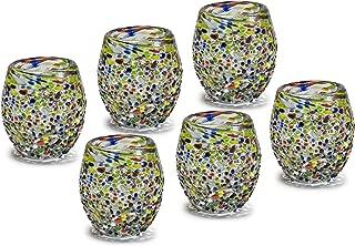 Mexican Hand Blown Glass Confetti Barrel Tequila - Whisky - Vodka Shots - Tequilero de Vidrio Soplado Barril Confeti Original Artisan (6 Pack)