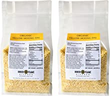 Inner Flame Organic Split Yellow Mung beans / Moong dal 4 LB in Convenient Resealable Bag - 15 Grams of Protein Per Serving. NON GMO | Gluten Free | Vegan
