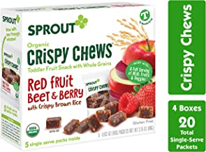 Sprout Organic Baby Food, Sprout Crispy Chews Organic Toddler Snacks, Red Berry & Beet 4 pack case of 20 Crispy Chews (4 boxes, 5 packets per box)