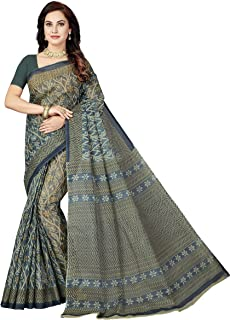 Rani Saahiba Women's Pure Cotton Printed Saree with Blouse Piece (SSKR5049_Silver)