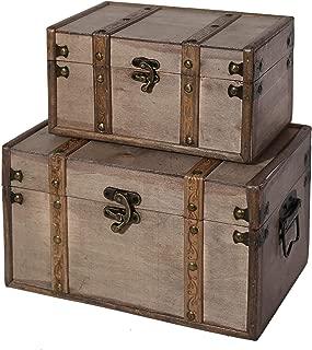 SLPR Natural Treasures Wooden Trunk Chest (Set of 2, Natural)   Decorative Old Rustic Wooden Keepsake Memory Trinket Nesting Boxes