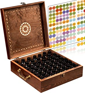 Beautiful Essential Oil Storage Box Organizer 62 Bottle - With 2 Carry Handles - Holds 5-10-15-30ML & 10ml Rollers (Space for 2oz-4oz Bottles) Free Bottle Opener & 192 EO Labels Wooden Oil Case Holder
