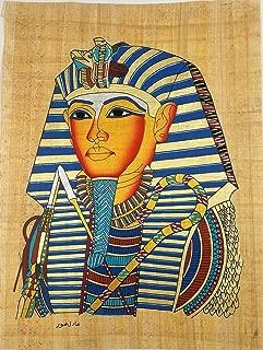 Original hand painted papyrus 12 X 16 Inch The Mask Of Pharaoh King Tut Ankhamon