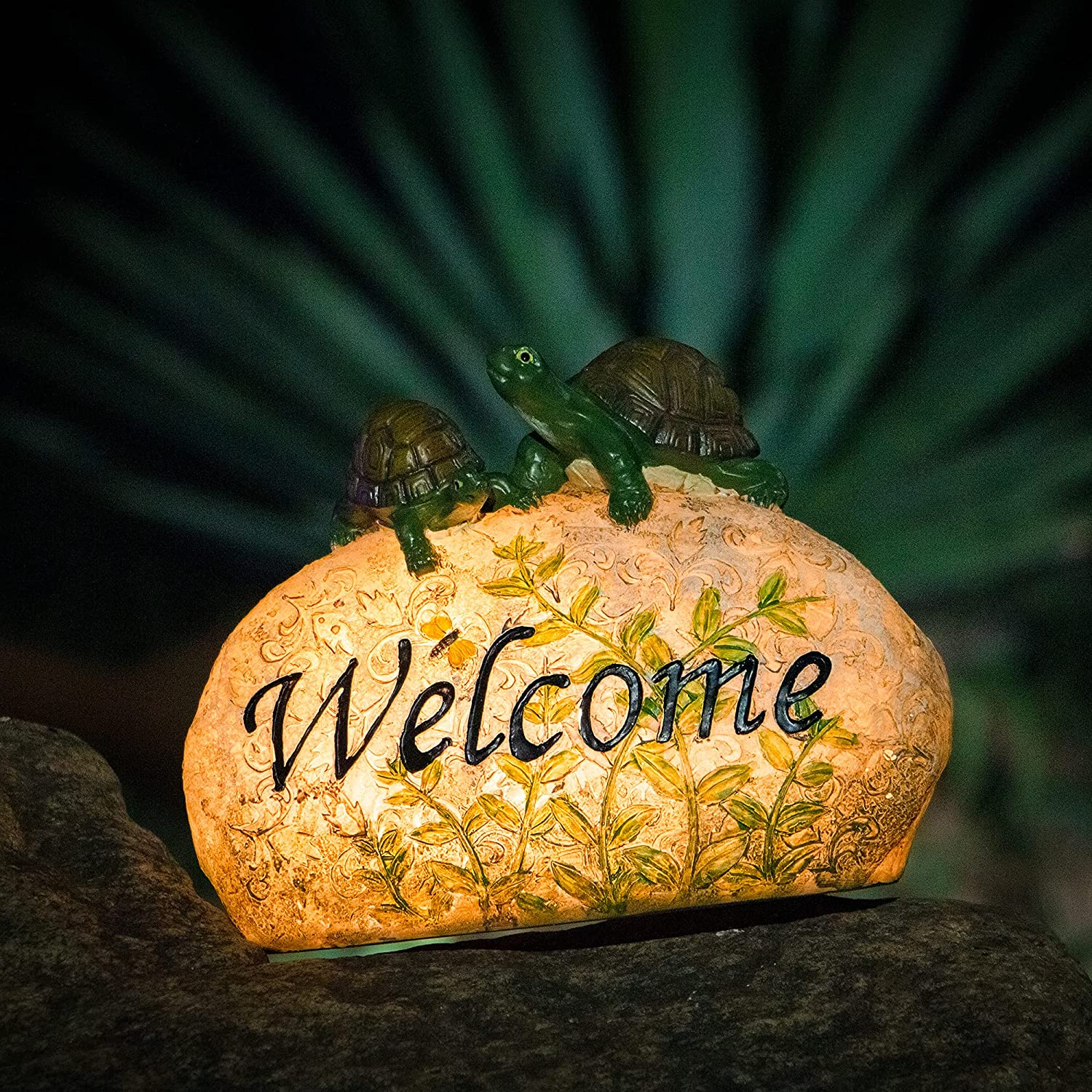 Garden Sculptures & Statues for Outdoor Patio Décor Cute Tortoise Standing on A Glowing Stone with Solar LED Welcome Sign for Garden Art Yard Decorations Perfect Outdoor Table Decor Gift