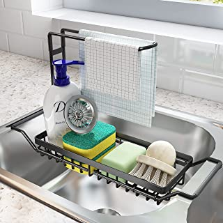 SNTD Sink Caddy Sponge Holder Large XXL, Expandable Drying Rack over Sink for Kitchen Dish Supplies/Sponge/Sink Plug/Rags/...