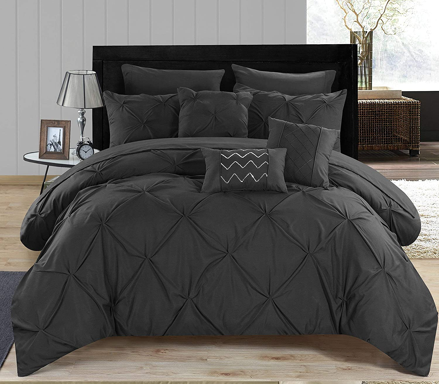 Chic Home 8 Piece Hannah Pinch Pleated, Ruffled & Pleated Complete Twin Bed Black Sheet Set