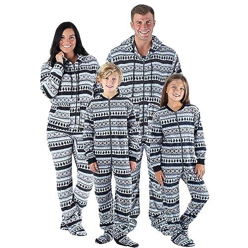 8db32df68a SleepytimePjs Family Matching Sleepwear Fleece Penguin Fairisle Onesie  Footed Pajamas PJs Sets
