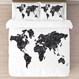 KB & Me Black and White Marble World Map Duvet Comforter Cover and Shams 3 pc. Full/Queen Size Bedding Luxury College Dorm Teen Set