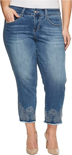 Jag Jeans Plus Size - Plus Size Logan Straight Ankle Jeans w/ Embroidery in Horizon Blue Denim