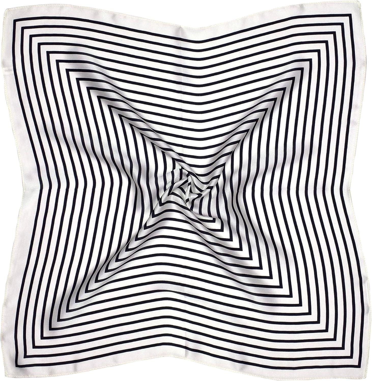 White Black Square Print Small Thick Silk Square Scarf