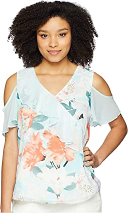 Printed Cold Shoulder w/ Ruffle