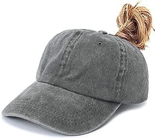 Leotruny Women Washed Cotton High Ponytail Baseball Cap