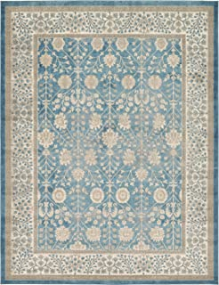 Luxury Vintage Persian Design Tabriz Rug Light Blue 9' x 12' St.George Collection Area Rugs