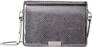 Michael Kors Jade Medium Gusset Snake Skin Embossed Leather Clutch Crossbody Handbag in Light Pewter